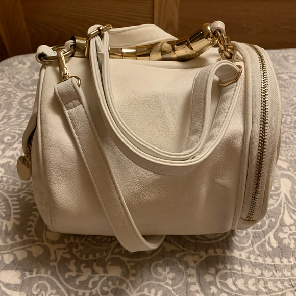 Handbags - White Faux Leather Purse - Made in Spain